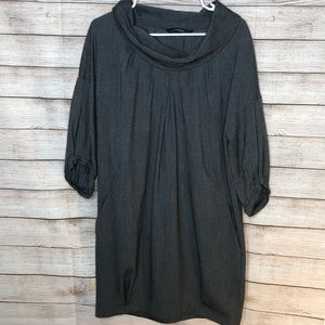 Zara Basic Cute Gray 3/4 Sleeve Cow Neck Dress